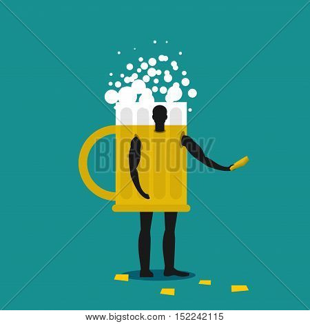 Mug Of Beer Mascot Man Promoter. Male In Suit Drinking Tankard Distributes Flyers. Puppets Engaged I