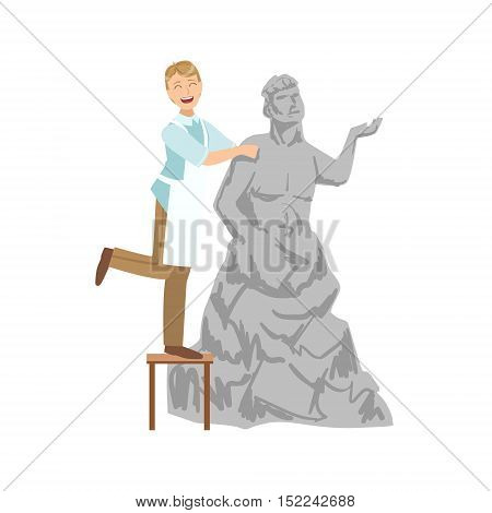Sculptor, Creative Person Illustration. Flat Simplified Childish Style Cute Vector Illustration Isolated On White Background