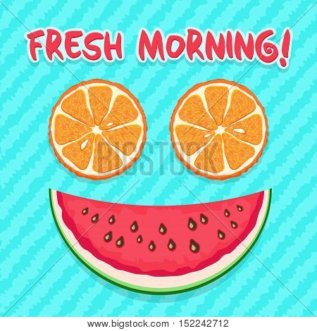 Fresh Morning. Orange Slices And Watermelon Slice As Smile. Funny Cartoon Vector Icon.