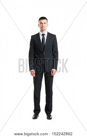 Young and confident business man. Businessman in suit isolated on white.