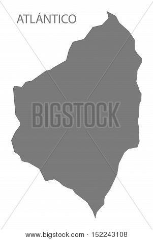 Atlantico Colombia Map in grey illustration high res