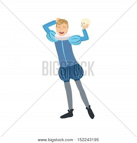 Actor Playing Hamlet, Creative Person Illustration. Flat Simplified Childish Style Cute Vector Illustration Isolated On White Background