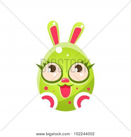 Toxic Green Egg Shaped Easter Bunny With Eyelashes. Bright Color Vector Christian Holyday Icon Isolated On White Background. Cute Childish Animal Character Design.