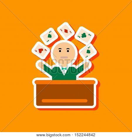 paper sticker on stylish background of poker man player