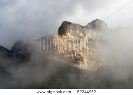 Peak named as Libro Abierto in the Pyrenees, Ordesa Valley National Park, Aragon, Huesca, Spain.