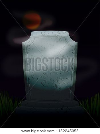 Twilight In Cemetery At Night. Moon On Dark Sky. Mysterious Ghost Fog And Tomb. Old Tombstone. Illus