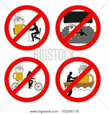 Forbidden To Drink Alcohol In Public Places. Stop Mug Of Beer At Restaurant. Ban Liquor In Movie The