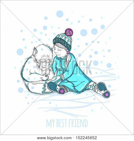 Vector illustration. My best friend. Little girl plays with a cute monkey. Hand drawing. Winter picture. The falling snow. Children's picture for greeting cards. Picture a little girl, warm coat, hat.