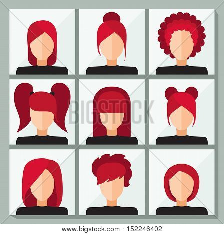 Set of stylish vector icons for infographics. Woman's face. Set of stylish women's hairstyles. Flat icons. Short haircut, bangs, hair tails from elastic bands, office styling, voluminous hair.