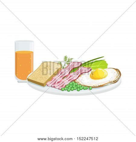 Full English Breakfast European Cuisine Food Menu Item Detailed Illustration. Cafe Dish In Realistic Design Vector Drawing.