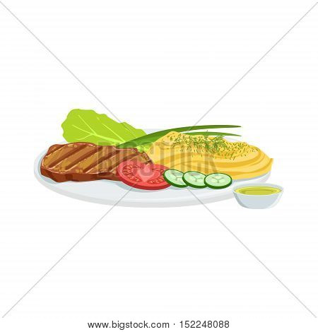 Steak European Cuisine Food Menu Item Detailed Illustration. Cafe Dish In Realistic Design Vector Drawing.
