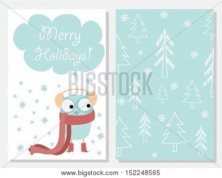 We wish you a Merry Christmas and a happy New Year. Stylish holiday card with cute owl in vector. Bright cartoon background with christmas trees