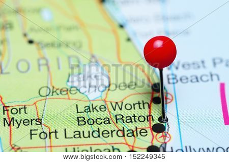 Boca Raton pinned on a map of Florida, USA