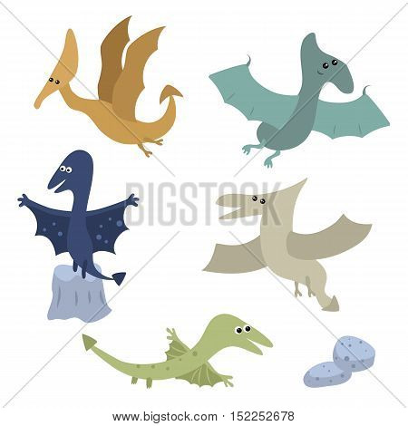 Set of different cartoon pterodactyls on white background.