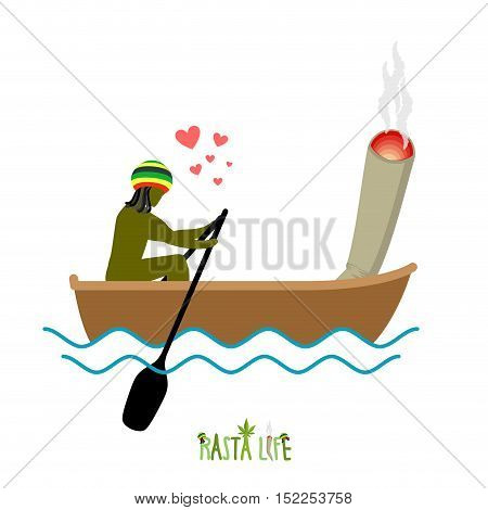 Rasta Life. Rastaman And Joint Or Spliff Boating. Man And Smoking Drug Walk Along Lake. Marijuana Lo
