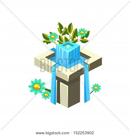 Classy Square Fountain Isometric Garden Landscaping Element. Video Game Landscape Constructor Item In Cute Colorful Design Isolated On White Background.