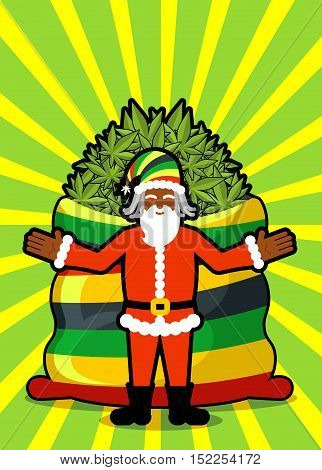 Rasta Santa Claus Wishes. Big Red Sack Hemp. Bag Of Marijuana. Pile Of Green Cannabis. Smoking Drug.