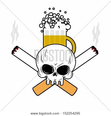 Skull And Beer And Crossbones Cigarettes. Smoking And Alcohol Leads To An Emblem Of Death. Logo For