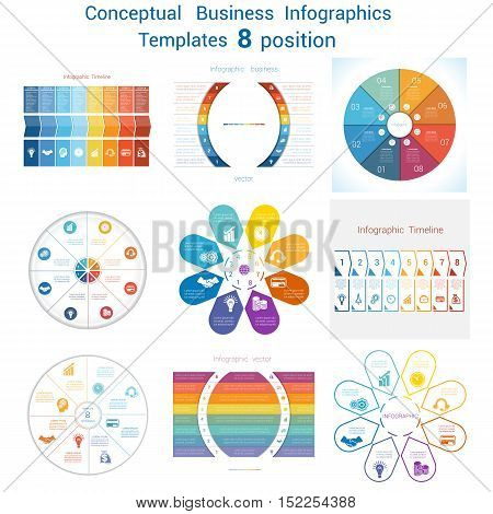 Set templates Infographics business conceptual cyclic processes for eight positions text area possible to use for pie chart diagram. Eps file is layered and fully organised objects are grouped
