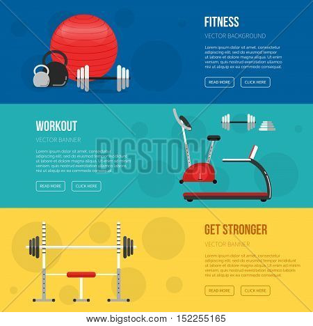 Fitness Training And Gym Club Banners Set. Gym And Fitness Center Flyers. Vector Sport Background. H