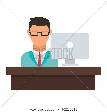 Office working on desktop computer team group person businessman vector. Office worker team and personal businessman office worker. Office worker working male meeting corporate. Office worker manager.