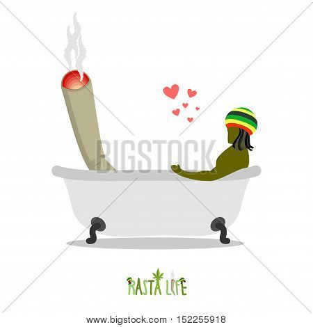 Rasta Life. Rastaman And Joint Or Spliff In Bath. Man And Smoking Drug Together Bathe. Marijuana Lov