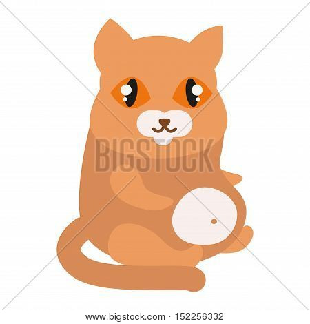 Cat cartoon style vector silhouette. Cute domestic cat animal sitting. Cartoon cat young adorable tail symbol playful. Cartoon funny domestic pussy kitty cat sit character