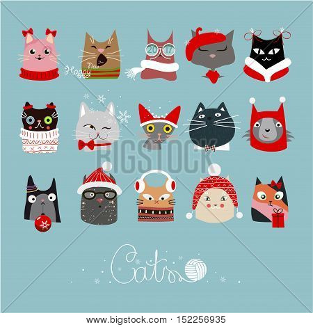 The cover design for new year and Christmas. Depicts the faces of cats with Christmas decoration on a blue background.