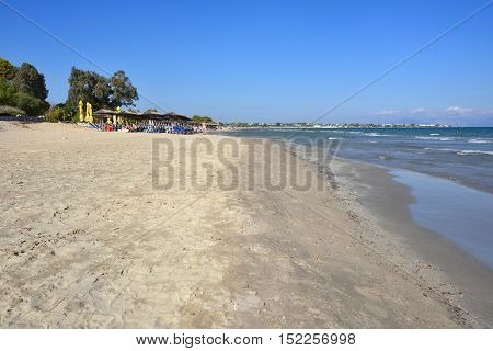 Artemis Greece - Sept 29 2016: View from water on the beautiful Artemis sandy beach one from most popular beach in Attica