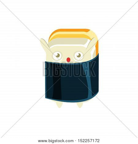 Baby Funny Maki Sushi Character Wrapped In Sea Weed. Silly Childish Drawing Isolated On White Background. Funny Creature Colorful Vector Sticker.