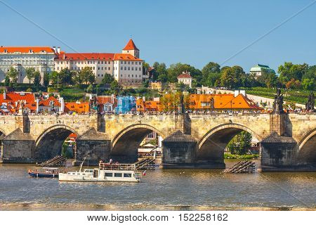 Prague, Czech Republic, September 20, 2011: View Onto Prague Castle From Charles Bridge Over Vltava