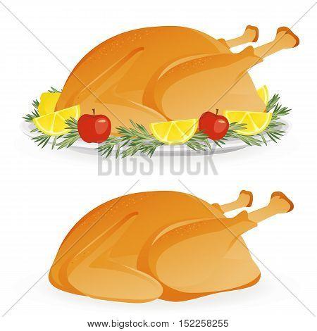 Roasted appetizing holiday turkey on platter isolated