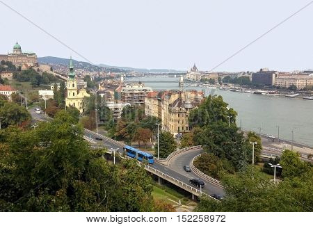 View of Budapest and the Danube River with the mountains Gallert.