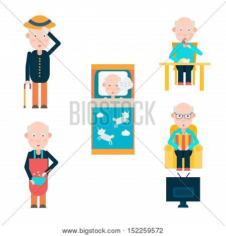 Life of a man in retirement, eat sleep and watch TV, vector illustration