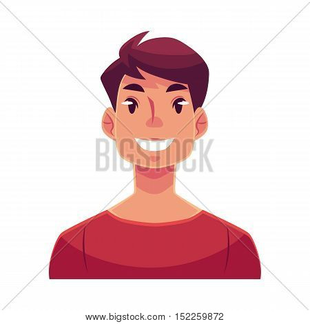 Young man face, smiling facial expression, cartoon vector illustrations isolated on white background. Handsome boy emoji with wide smile, white teeth. Happy, glad, smiling face expression