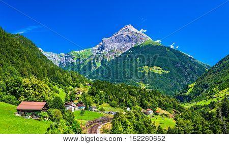 View of Gurtnellen, a village in Swiss Alps, canton Uri