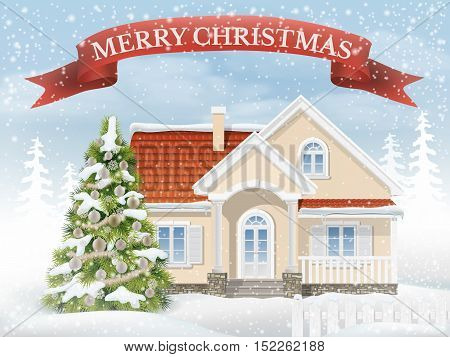 Country Christmas scene with the suburban house and the fir tree. Rural winter landscape with snow drifts and falling snow. Vector realistic illustration background for greeting card Happy New Year.