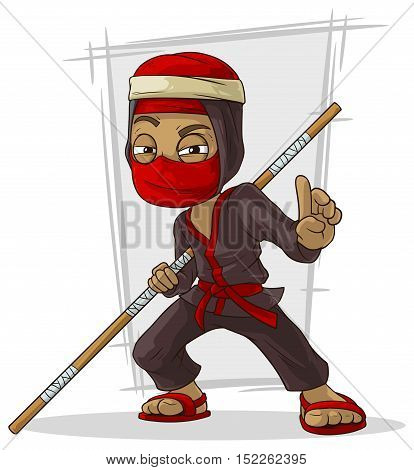 A vector illustration of Cartoon Asian ninja in red mask with stick