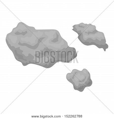 Asteroid icon in monochrome style isolated on white background. Space symbol vector illustration.
