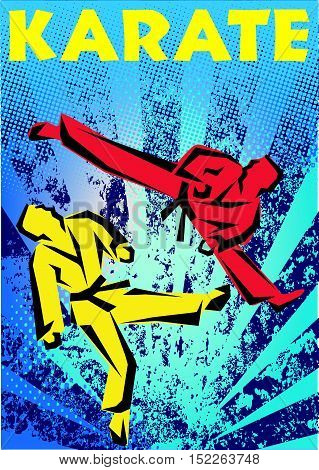 Martial arts. Karate fighters high jump silhouette scene poster, plakat