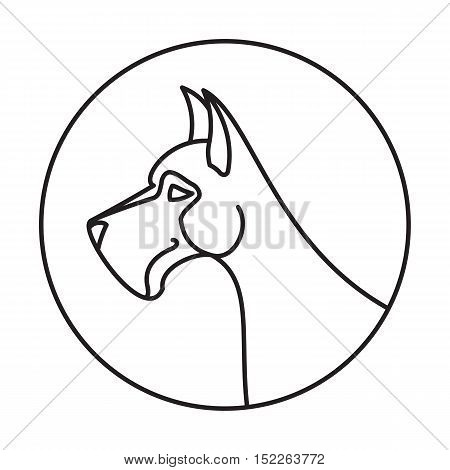 Linear emblem with dog great dane. Creature linear pedigree animal. Vector illustration