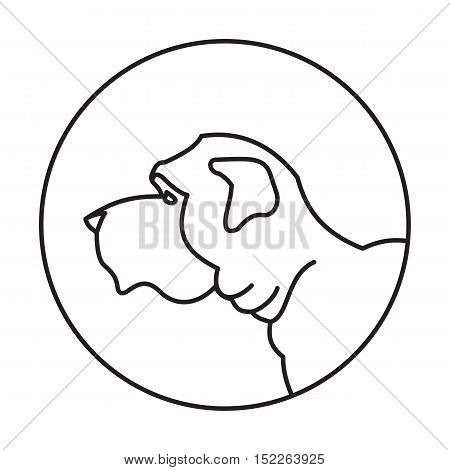 Linear emblem with english mastiff dog. Domestic young doggy, vector illustration
