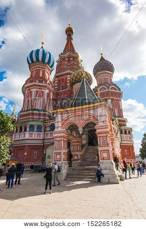 MOSCOW RUSSIA - 07.09.2016: Cathedral of Vasily the Blessed on Red Square in Moscow Russia