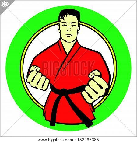 Martial arts. Karate fighter sambo power fist silhouette. Vector. EPS