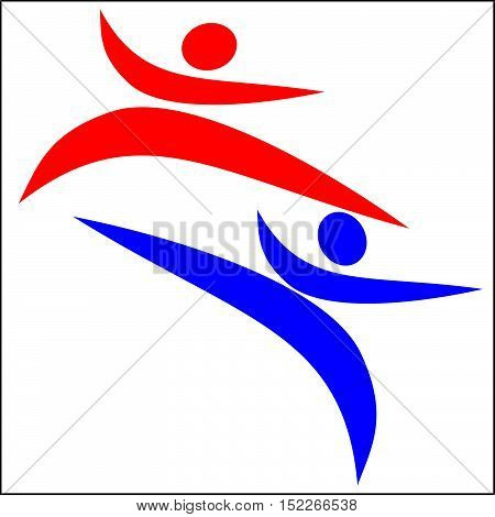 Martial arts. Karate fighters silhouette logo plakat, poster. Vector. EPS.