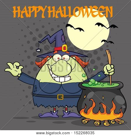 Ugly Halloween Witch Cartoon Mascot Character Preparing A Potion In A Cauldron. Illustration With Halftone Background And Text Happy Halloween