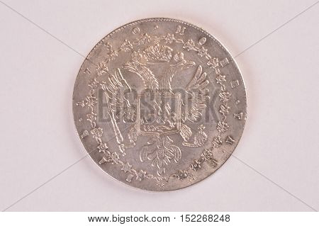 Coin one ruble silver vintage Empress and Autocrat of All Russia Anna downside
