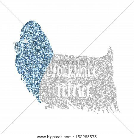 Form of round particles dog yorkshire terrier. Character pet and doggy companion, vector illustration