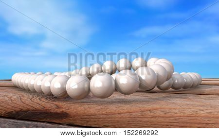 white pearls necklace on old grunge wooden table 3d render