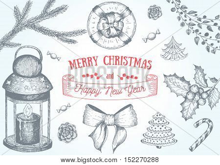 Christmas hand drawn frame for xmas design. With toys candy cane candles mistletoe holly berries and fir-cone. Vintage Xmas invitation design. Linear graphic. New year vector illustration.